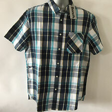 BENCH Mens Check Shirt Size L Short Sleeve Blue White Large 100% Cotton 41-43
