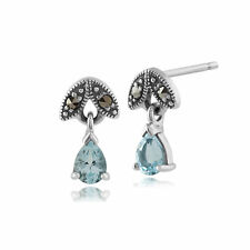 Sterling Silver 0.23ct Aquamarine & Marcasite March Stud Earrings