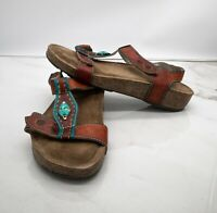 Spring Step L'artiste Sandals Women's Brown Leather w/Turquoise and Gold Size 9