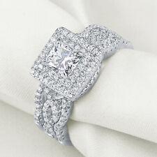Sterling Silver Wedding Ring Set Size 7 3pcs Princess White Cz Blue Sapphire 925