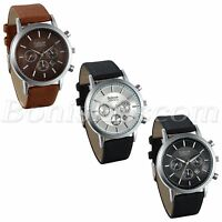 Mens Casual Business Decoration Leather Band Quartz Analog Wrist Watch With Date