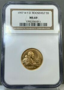 1997 W $5 Gold Franklin D Roosevelt F.D.R. Commemorative Coin NGC MS69