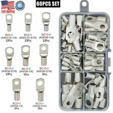 60x Battery Cable Ends Lugs Wire Connectors Copper Ring Terminals Assortment Kit