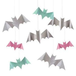 MERI MERI HALLOWEEN Pastel Glitter Hanging Bats (8 Pack)