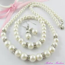 Glass Pearl & Rhinestone Necklace, Bracelet & Earring Set Great for Bridal & Deb