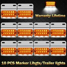 15LED Truck Marker Light Clearance Cab Lamp 12-24V Trailer Lorry Amber 10 PC Set