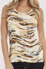 Karen Kane Mojave Sun Gold Print Wavy Ruffle Tank Top, S - MSRP $108