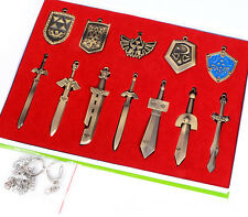 11PCS Legend of Zelda Bronze Weapon Blade Sword Necklace Pendant Keychain