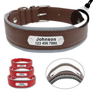 Reflective Leather Personalised Dog Collar Medium Large Dogs ID Name Engraved