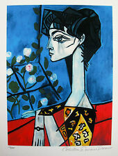 Pablo Picasso JACQUELINE ROQUE WITH FLOWERS Estate Signed Numbered Small Giclee