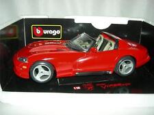 1992 DODGE VIPER RT/10 RED #3025  BY BBURAGO  ITALY 1:18 SCALE NEW.MIB