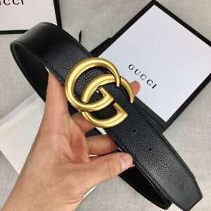 Authentic Gucci Belt GG Buckle Genuine Leather Unisex Fashion Black & Gold(used)