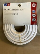 GE RG6 White Coax Cable 50 ft for TV, DVD, VCR, Receiver Audio Video