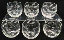 6 Roly Poly 6 oz Glasses Etched Wheat Low Ball Mid Century Tea Light Holders