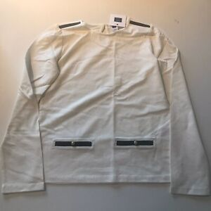 New Janie And Jack Ivory Long Sleeve Top With Faux Leather Trim Size 10