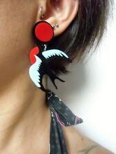 Boucles d'oreilles originales hirondelle oiseau bird old school acrylique pinup