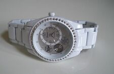 Men's white finish bling dressy style fashion watch good for party wear