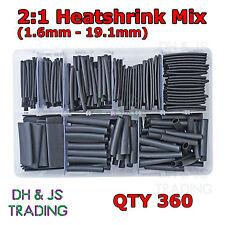 Caja de Surtido de Negro Calor Shrink 2:1 (1.6 - 19.1mm. 40mm de largo) 360 Heatshrink