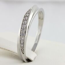 CZ Rose White Gold Plated Eternity Engagement Wedding 4mm Ring Band Sizes K to T