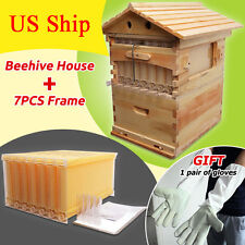 7pcs Updated  Flow Honey Bee Hive Frames + Beehive Wooden Beekeeping Harvesting