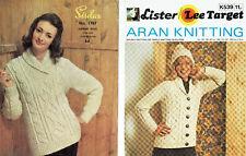 TWO x VINTAGE KNITTING PATTERNS ~ SIRDAR 1767 & LISTER K539 ~ ARAN'S FOR WOMEN