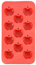 Apple Shape Flexible 11 Ice Cube Tray Mold Red Silicone Novelty Gag Gift Joke
