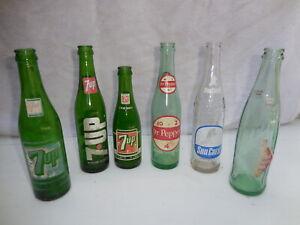 Vintage 1960/70s  LOT OF 6 SODA BOTTLES,7 UP,DR.PEPPER,SUN CREST,LOT #1
