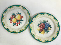 "Set Of 2 Vintage Fruit Decorated Ware 10"" Tin Plates"