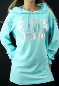 Victoria's Secret PINK Logo Tunic Lightweight Hoodie Sweatshirt Mint Top