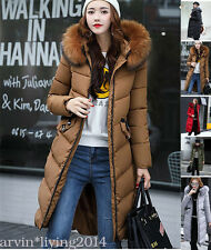 New Womens Ladies Quilted Winter Coat Puffer Fur Collar Hooded Jacket Parka