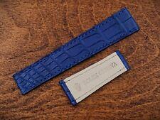 Cinturino Blu Opaco Coccodrillo Per Orologi Rolex Piatto Elegante For Deployante