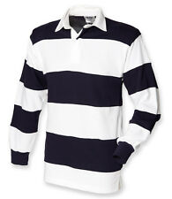ee9afdde1ba Mens Long Sleeve Rugby Shirt Sewn Stripe Casual Top S-xxl by Front Row L