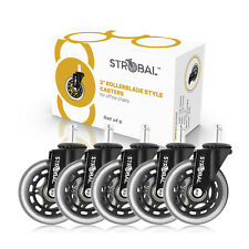 Strobal Office Chair Replacement Wheels 3 Rollerblade Style Casters 5 Pk Black