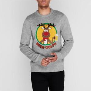 STAR Christmas Jumper Men's Grey Brew Dolph Beer Sweatshirt Various Sizes BNWT