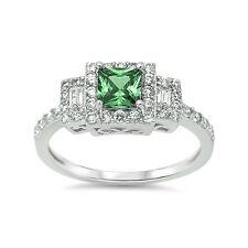 Halo 3-Stone Wedding Ring Princess Cut CZ Sterling Silver Filigree Choose Color