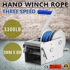 1500KG Hand Winch 5mm x 8m Dyneema Rope 3 Speed 15/5/1:1 Ratio Heavy Duty