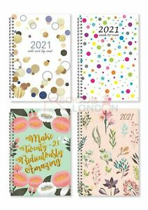2021 A5 Week To View Spiral Bound Diary Hardback Cover Fashion Design Planner