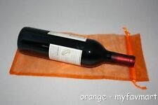 "10 Orange Wine Organza Pouch Gift Bag 6""x14"""