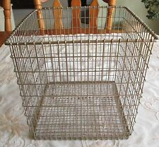 "Wire Basket Cube Shaped Clean 9""tall 8 3/4"" wide 8 3/4"" deep Industrial"