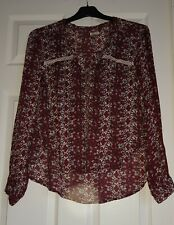 Women's Floral Light Weight Blouses Jackets in Wine Reds by HOLLISTER size XS