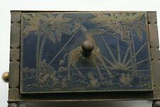 ANTIQUE VINTAGE GERMAN  PUZZLE? BOX WITH 4 HUNTING SCENES GIRAFFE SAFARI