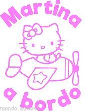 Adesivo Retro Auto BIMBA A BORDO Parabrezza Hello Kitty Baby on Board TUO NOME