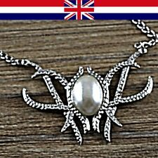 Lord of the Rings Elven Fairy Queen Silver & pearl Pendant Necklace UK Seller