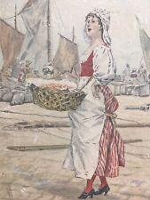 Très beau Dessin Poissonnière Vendeuse Port Aquarelle Lavis encre 1892 Marseille