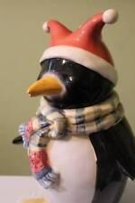 Penguin Canister Cookie Jar Winter Joy Scarf Jester Hat Oneida Christmas