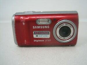 samsung digimax a503 5mp digital camera red tested working