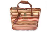 BTL Rolling Laptop Carry On Bag Luggage Tag Pockets Zip Closure Striped