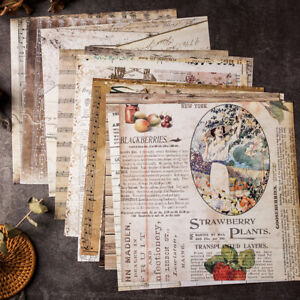 20pcs Newspaper Style Background Paper Card Scrapbooking Pads Album DIY Craft