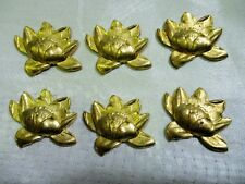 Vintage Art Nouveau Water Lily Flower Stampings, Die Struck Raw Brass, 6 Pieces