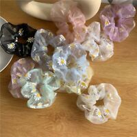 2x Rubber Band Scrunchies Ponytail Holder Daisy Floral Thin Mesh Hair Rope Band